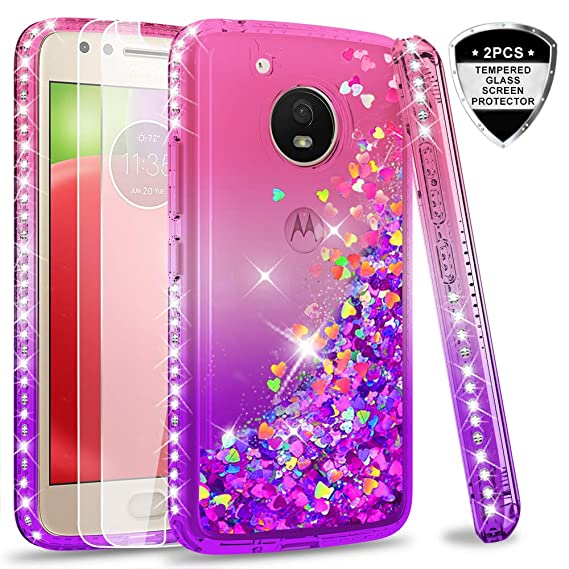 brand new 4cfe4 c95c2 Amazon.com: Moto E4 Case (USA Version) (Not Fit E4 Plus) Tempered ...