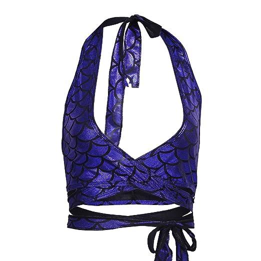 cf2594c93a iiniim Women s Shiny Mermaid Fish Scale Halter Strappy Wrap Around Bra Top  Rave Tops Dark Blue