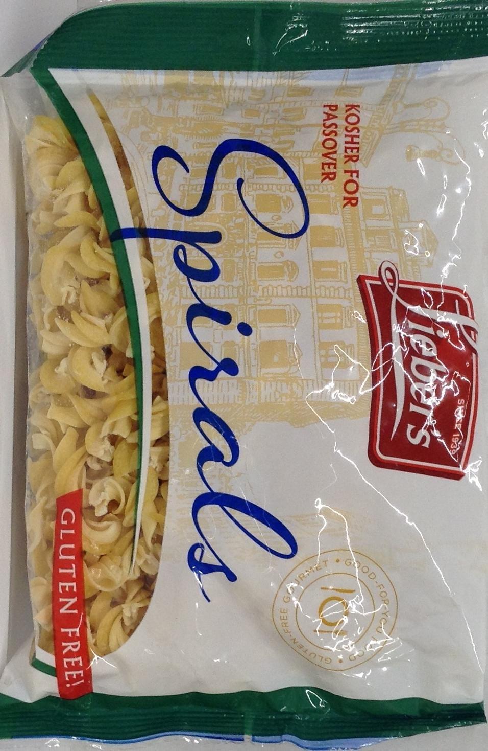Lieber's Spirals Pasta Gluten Free KFP 9 Oz. Pack Of 6.