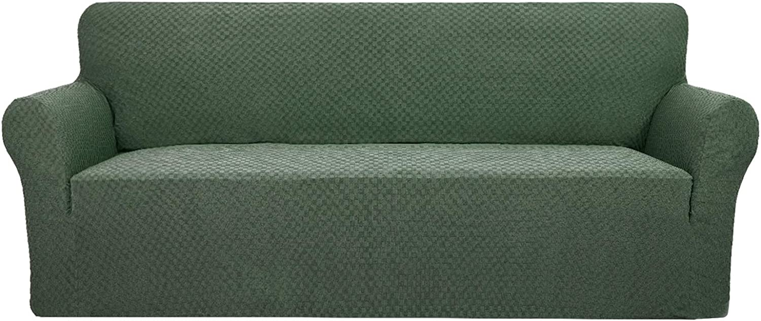 YUUHUM Creative Design Couch Cover 1 Piece Stretchable Elastic Sofa Covers for 3 Cushion Couch Living Room Pet Dog Furniture Protector Stretch Slipcovers with Anti Slip Foam Rod (Sofa, Army Green)