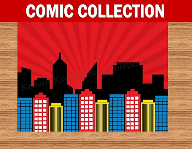 Amazoncom COMIC HERO Party CITY SCAPE Superhero Birthday
