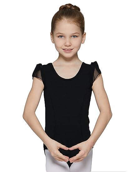 MdnMd Girls Cap Sleeve Flutter Waist Leotard Dress