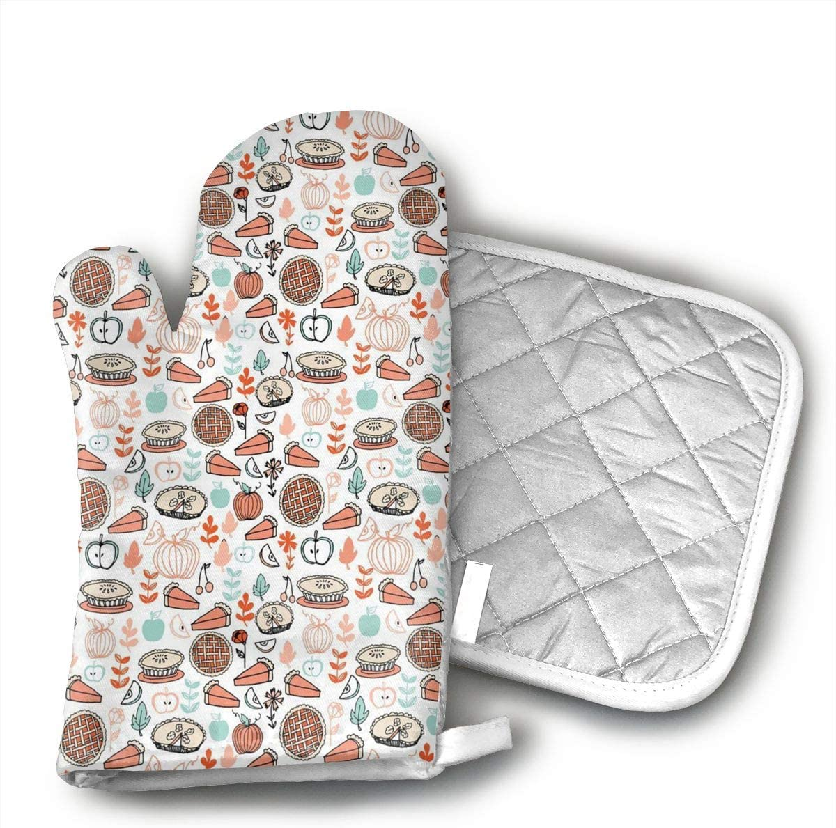 CUUOP13 Baking Food Pies Kitchen Pumpkin Heat Resistant Kitchen Oven Mitt with Non-Slip Silicone Printed,Oven Gloves for BBQ Cooking Baking,Grilling,Barbecue,Microwave,Machine Washable.