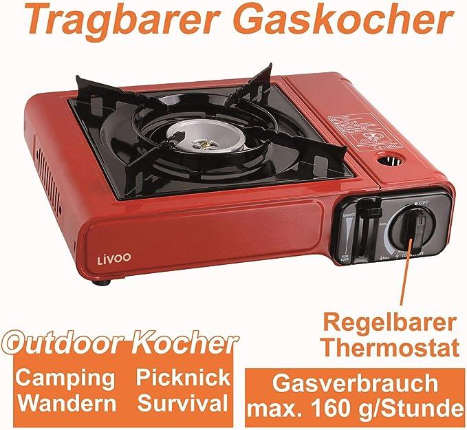 Hornillo de gas de camping con 1 fuego, encendido piezoeléctrico, de aluminio, maletín de transporte (2 kW, placa de cocción de gas, placa de cocción ...