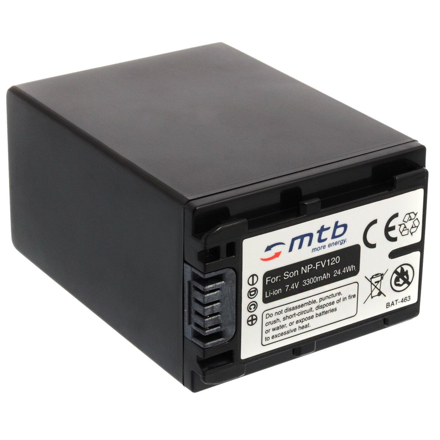 Batteria NP-FV120 (3300mAh) – sostituisce NP-FV100A – per Sony DEV-30, 50V.. / HDR-CX740, CX900../ PJ410 PJ620.. / FDR-AX33... - v. lista! [Li-Ion - 7.2V - con Infochip] mtb more energy BAT-463
