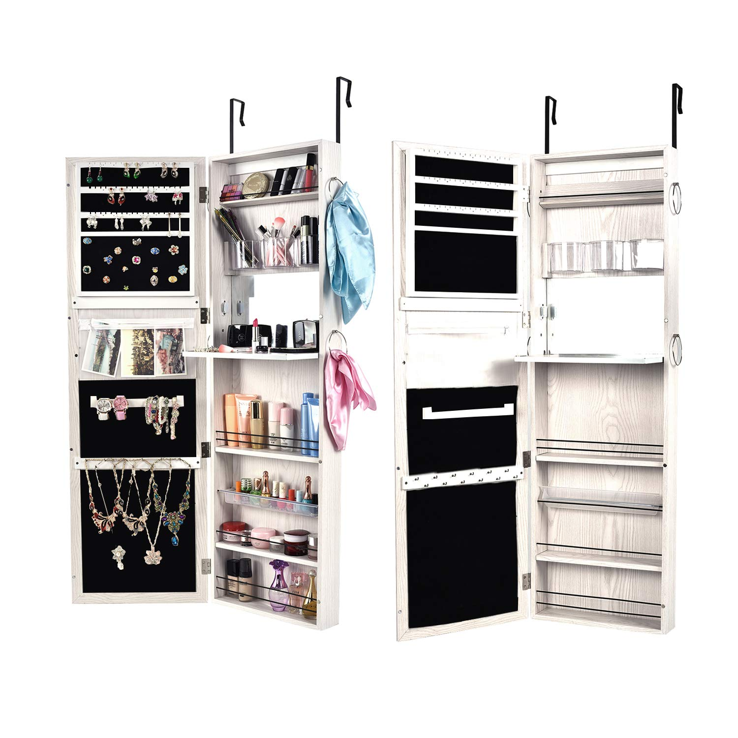 """Bonnlo 2 in 1 Jewelry Armoire Wall Mounted/Door Hanging Cabinet,Full Length Mirror Lockable Storage Bedroom Organizer,Xmas New Year, 52"""" L X 18"""" W"""