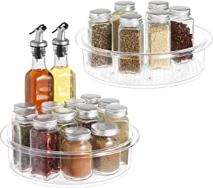 Lazy Susan - 2 Pack Clear Spinning Organization & Storage Container Bins 9 inch Round Turntable Plastic Condiments Spice Rack for Cabinet, Pantry, Kitchen, Fridge, Vanity, Bathroom, Countertop, Makeup