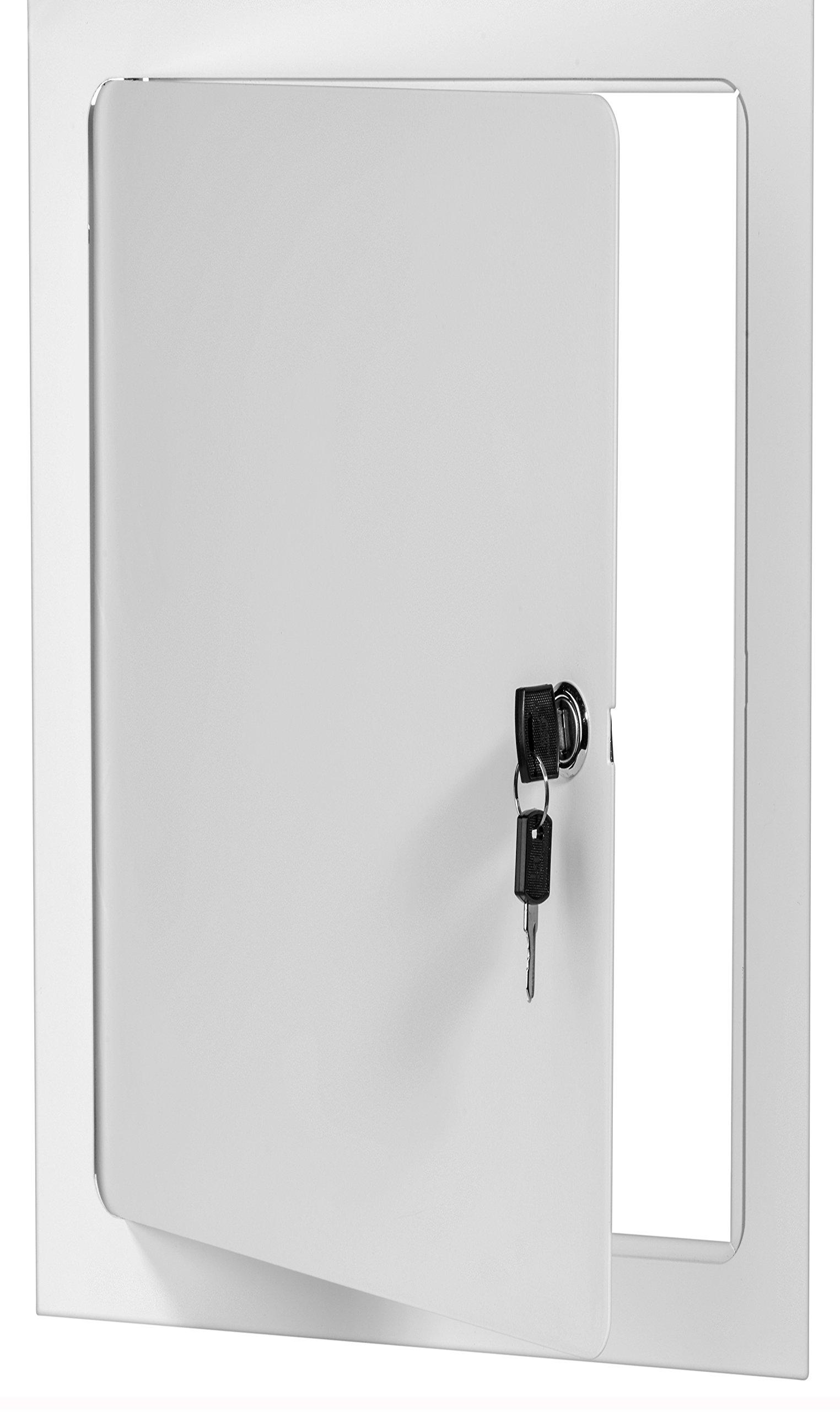 Premier 5000 Series Commercial Grade Steel Access Door, 12 x 24 Flush Universal Mount, White (Keyed Cylinder Latch)