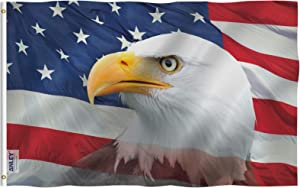 Anley Fly Breeze 3x5 Feet US Bald Eagle Decorative Flag - Vivid Color and Fade Proof - Canvas Header and Double Stitched - Patriotic Bald Eagle Flags Polyester with Brass Grommets 3 X 5 Ft