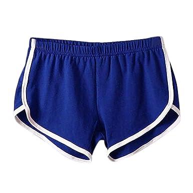 fbad3821ae99 Petalum Short de Sport Femme Yoga Fitness Running Gym Élastique Casual  Stretch Gaine Large Bleu FR