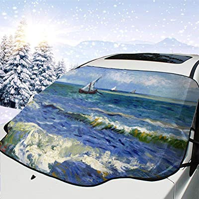PandainspirS Car Windshield Snow Cover Sunshade Protector Sun Shade Snow Ice Frost Protector Waterproof for Cars Trucks Vans SUV All Weather Winter Summer-Van Gogh Sea: Car Electronics