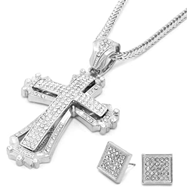 Mens Large 14k Gold Plated Hollow Cross Iced Out Pendant 30 Heavy Cuban Chain Men's Jewellery Jewellery & Watches