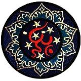 Om Symbole Bleu Spirituel Méditationl Patch '' Ca. 8 x 8 cm '' - Écusson brodé Ecussons Imprimés Ecussons Thermocollants Broderie Sur Vetement Ecusson Hippie