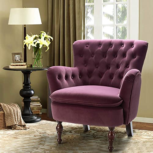 Purple Velvet Tufted Arm Chair Isabella Small Accent Chair