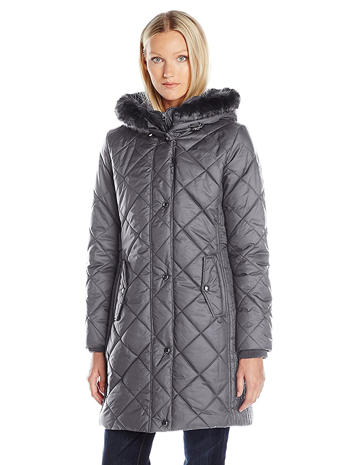 Larry Levine Women's 3/4 Diamond Quilted with Bib and Ff Trimmed Hood Pewter M [並行輸入品] B075CJK55H