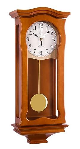 N 2219-Reloj de pared con péndulo madera de pared mecanismo de cuarzo calidad wenstminster controlado por radio: Amazon.es: Relojes