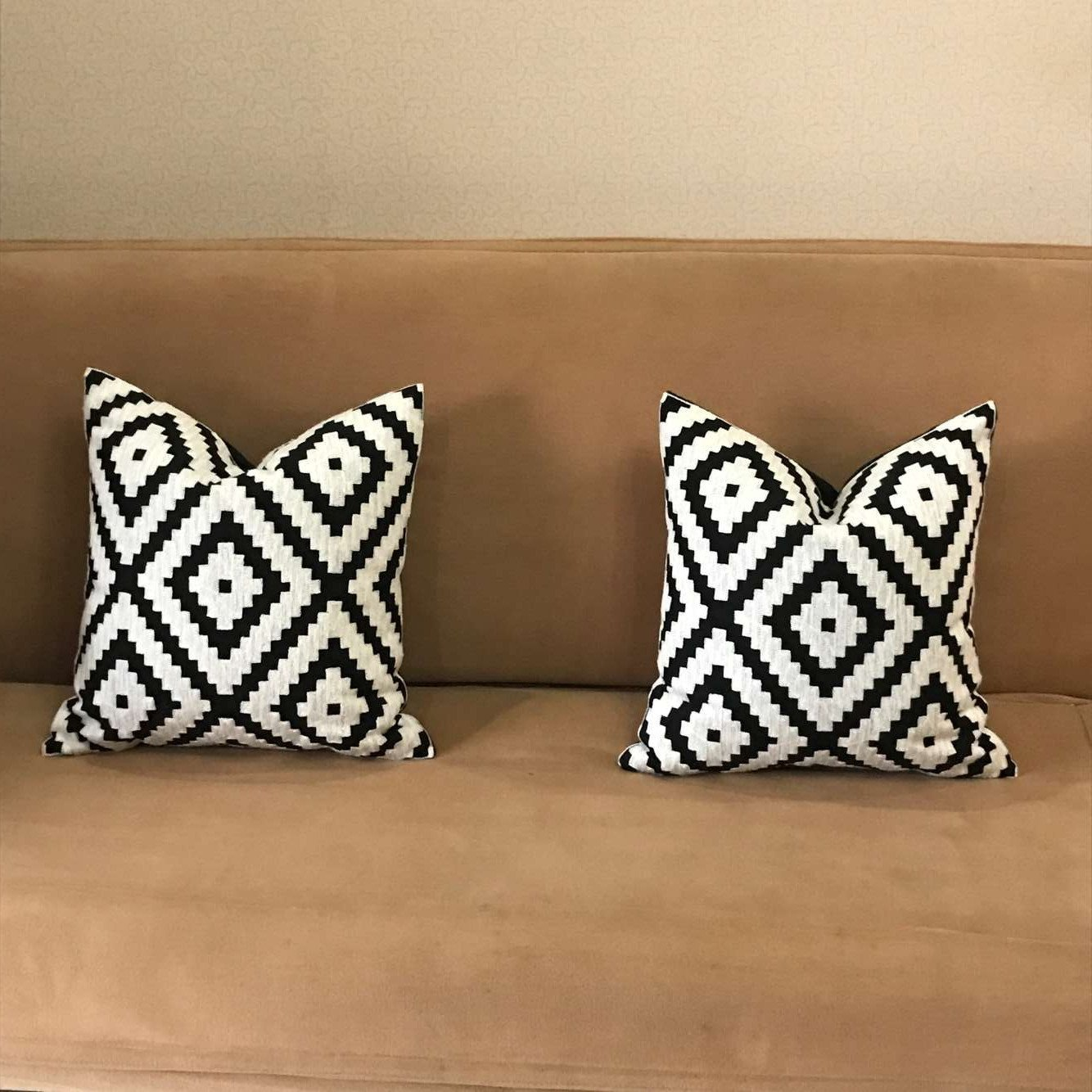 1PC Plain Jann Cotton Embroidery Throw Pillow Cover Premium Zipper Pillow Cover Decorative for Living Room 18x18 Inches Cushion Cover
