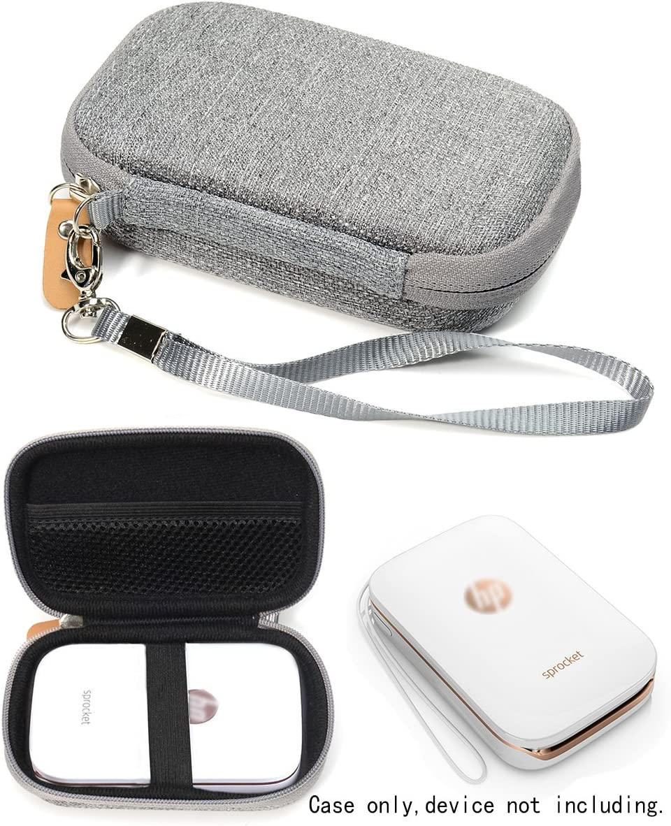 Shockproof Travel Easy Carrying Case for HP Sprocket Portable Photo Printer and Polaroid ZIP Mobile Printer, Mesh Pocket for Cable, Printing Paper and other accessories, Gray