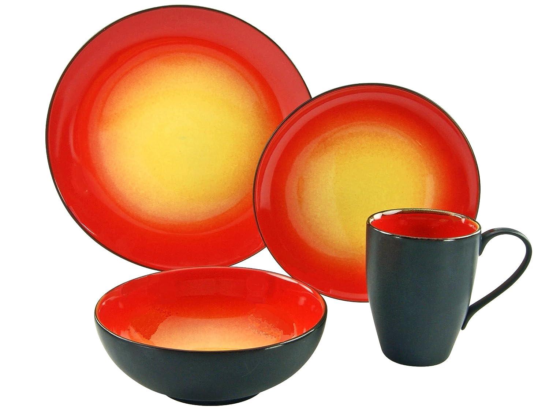 Serie HOT RED Stein Geschirrset 16 teilig Kombiservice Einheiten Creatable 20200 Mehrfarbig 35 x 34 x 35 cm