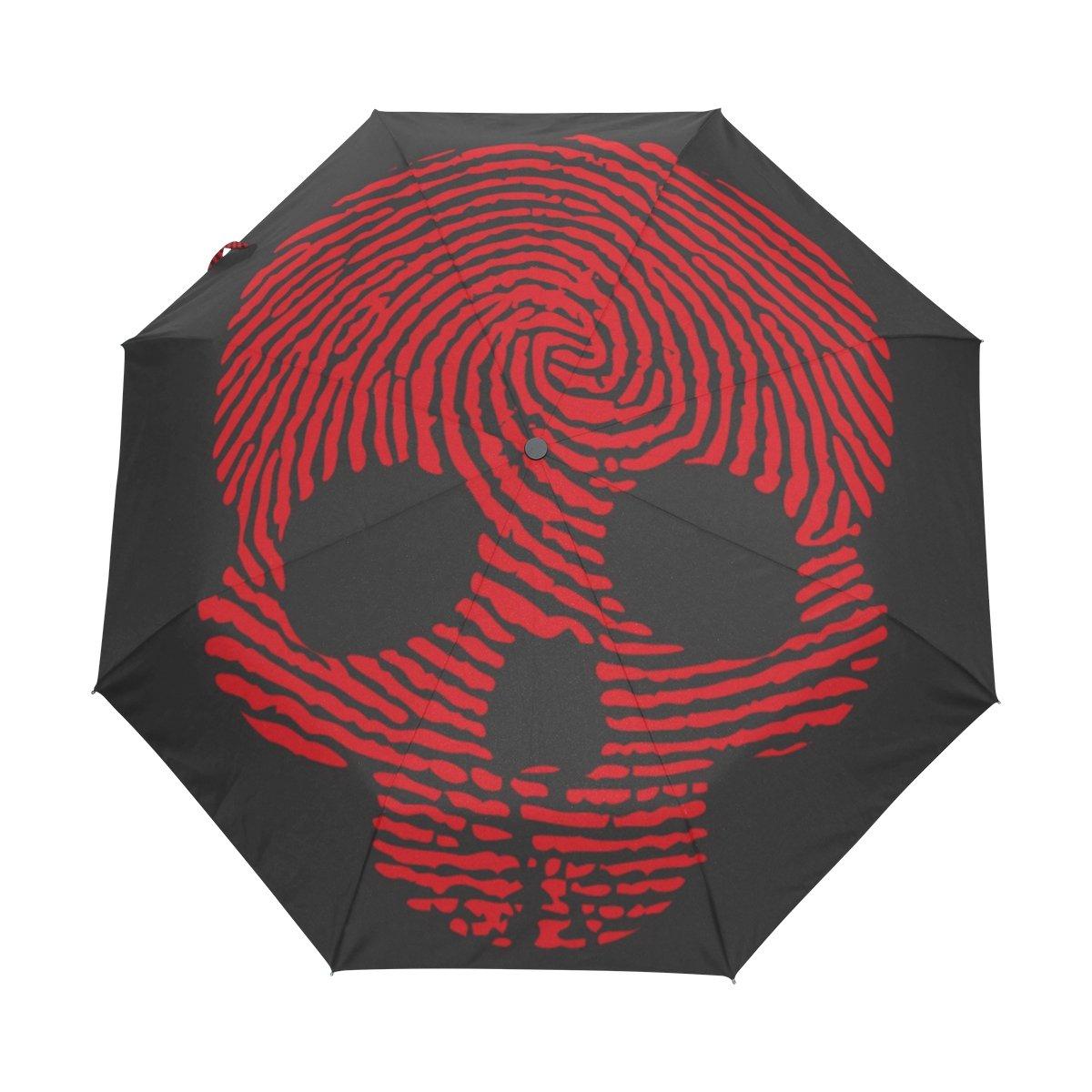 Naanle Red Finger Print Skull Skeleton Auto Open Close Foldable Travel Umbrella