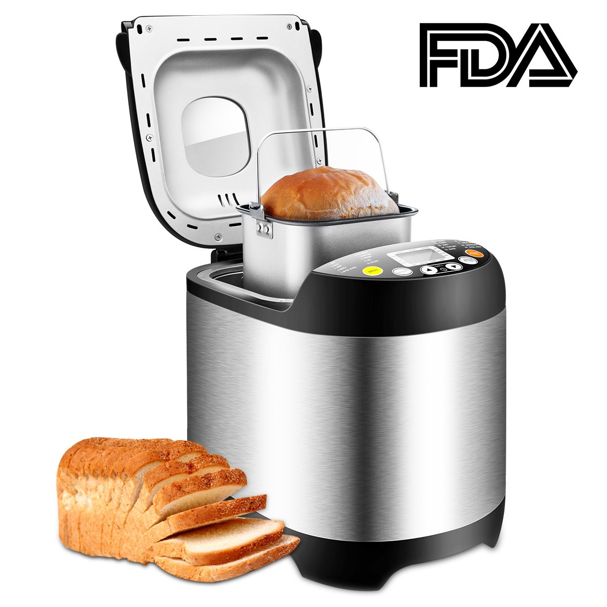 Bread Maker, TOBOX 19 Automatic Programs Bread Machine, Programmable Breadmaker Machine with 3 Crust Color, 15 Hours Delay Time and LCD Display- Stainless Steel, 1LB/1.5LB/2LB