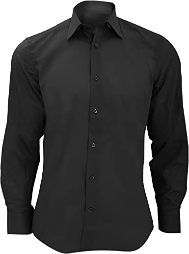 Russell Collection Long sleeve pure cotton Easycare poplin shirt Black XL
