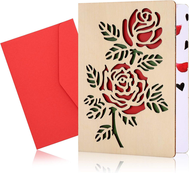 Tarjetas De Aniversario De Madera Con Sobre, Tarjetas De CumpleañOs Hechas A Mano Tarjetas De FelicitacióN De Madera Para El DíA De La Madre, Aniversario, CumpleañOs, Boda, DíA De San ValentíN (Rosa)