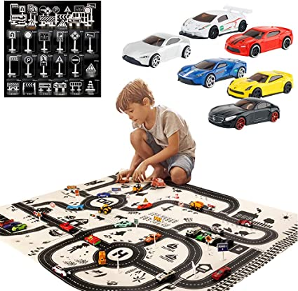 Kids Fun Town Cars Play Road Carpet  Waterproof Playmat Traffic Signs Car Toy