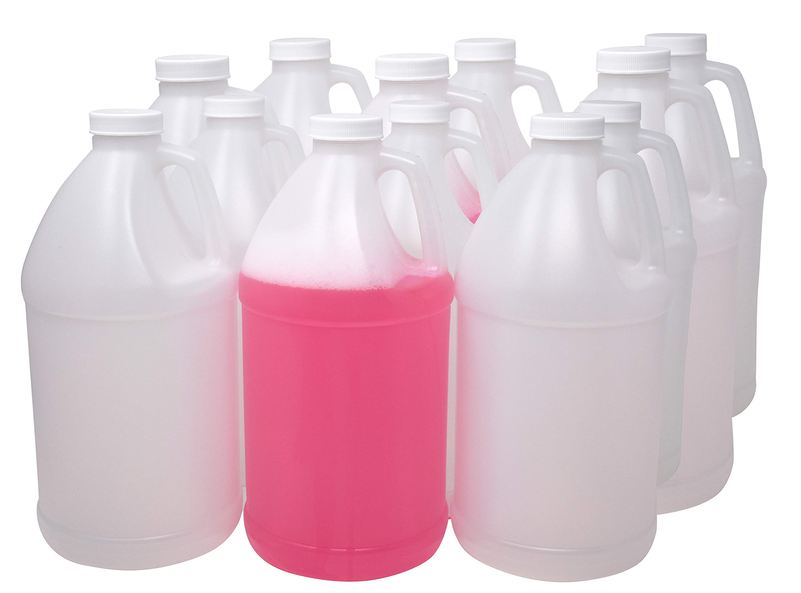 4Spray 1/2 Gallon Jug, 64 oz USP Empty Plastic Bottle - Bpa Free, Natural Color HDPE with 38mm Cap (12)