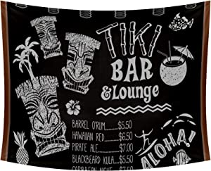 Tiki Bar and Lounge Chalkboard Cocktail Menu Tapestry Wall Art Decor Wall Blanket Beach Blanket Wall Hanging Bedding Tapestry 90x56 Inches