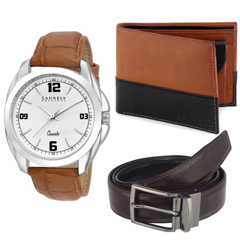 8766690458b Laurels Men s Black   Tan Wallet   Belt Combo with White Dial Analog Watch  - (Dip-301-ML-0801)  Amazon.in  Bags