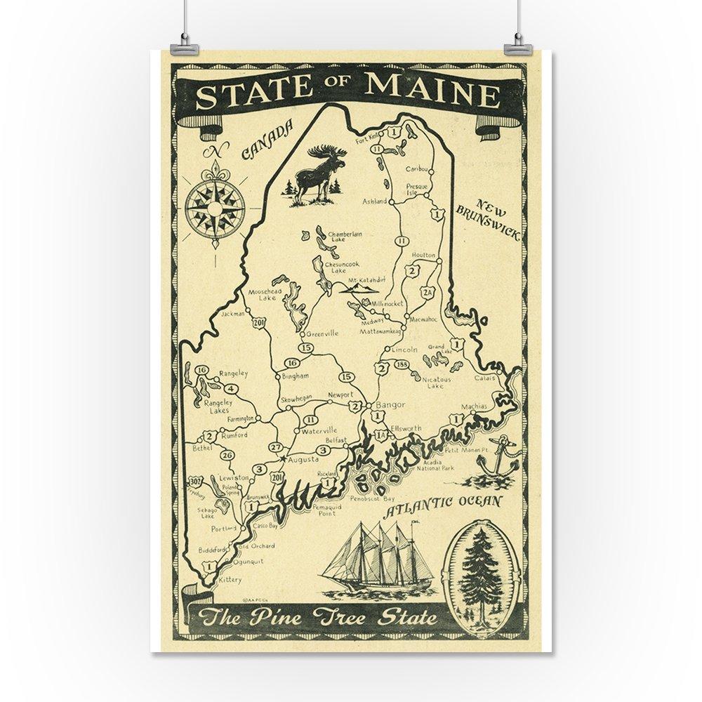 Amazon.com: Maine - Highway Map of the Pine Tree State Scene (16x24 ...