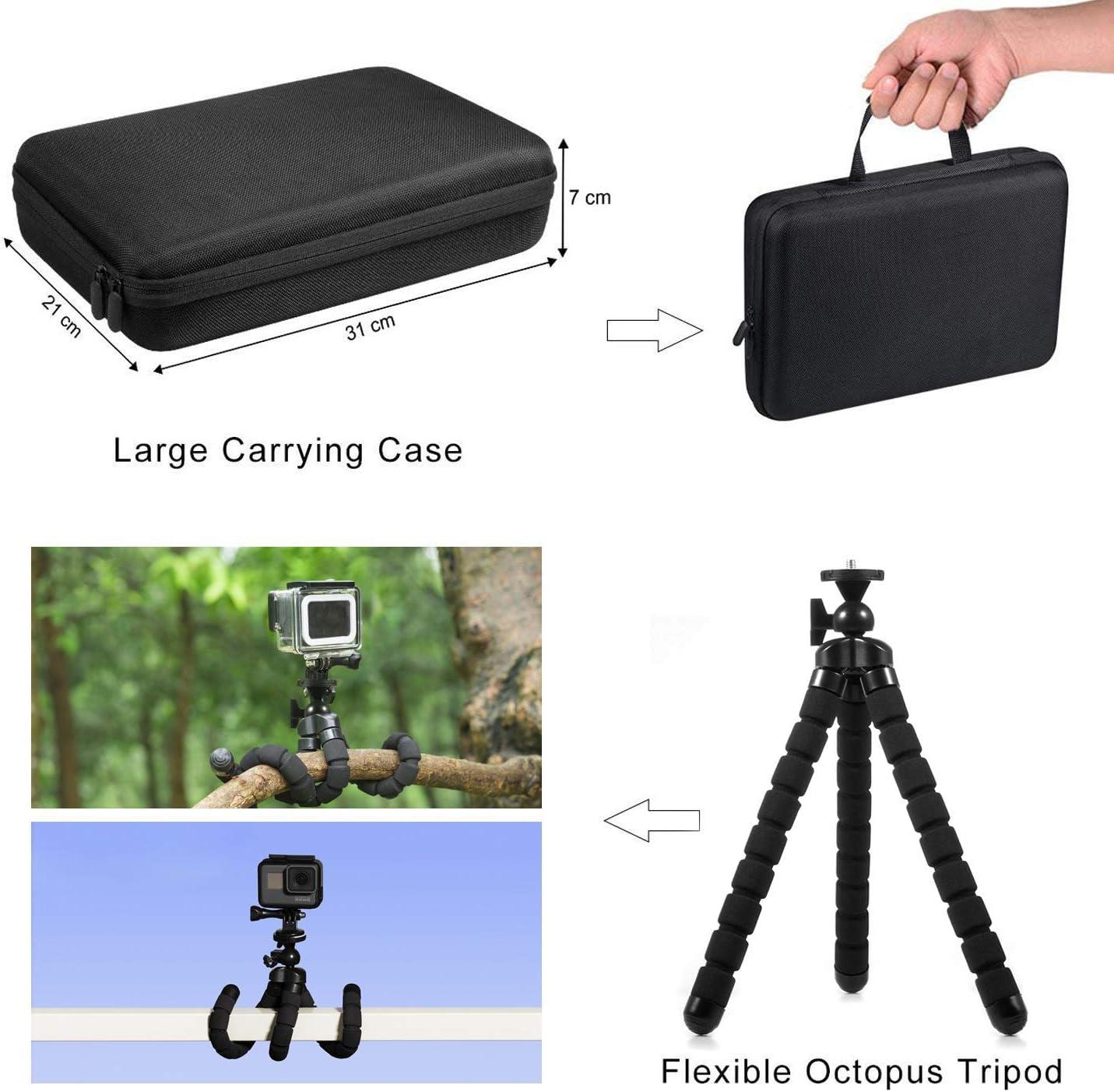 Deyard Trousse daccessoires avec /étui de Transport pour GoPro Hero 9 GoPro Hero 8 Hero 7 6 5 4 AKASO Crosstour Apeman Cam/éra daction