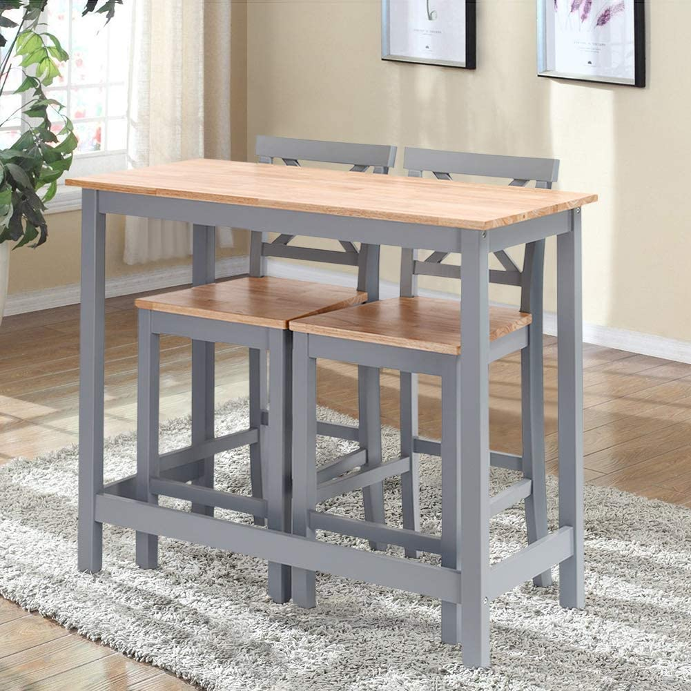 Gray Solid Pine Wood Breakfast Kitchen Bar Table Compact Dining Table Chair For Bar Warmiehomy Bar Table And 2 Stools Set Kitchen Dining Room Bistro Home Bar Furniture Furniture