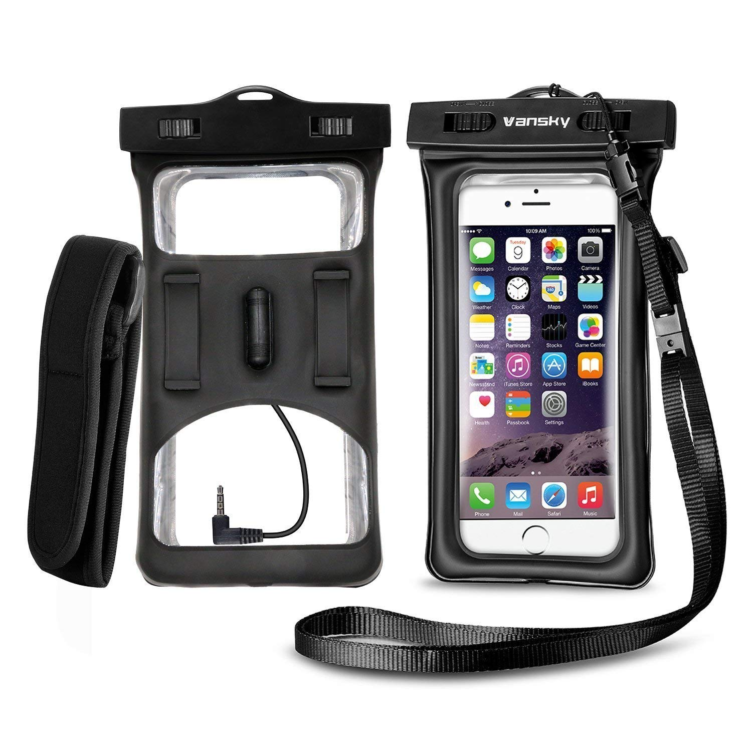 Vansky Floatable Waterproof Phone Case, Waterproof Phone Pouch Dry Bag with Armband and Audio Jack for iPhone X, 8 Plus, 8, 7 Plus, 7, 6s, 6, Andriod TPU Construction IPX8 Certified FBA_FCASE01
