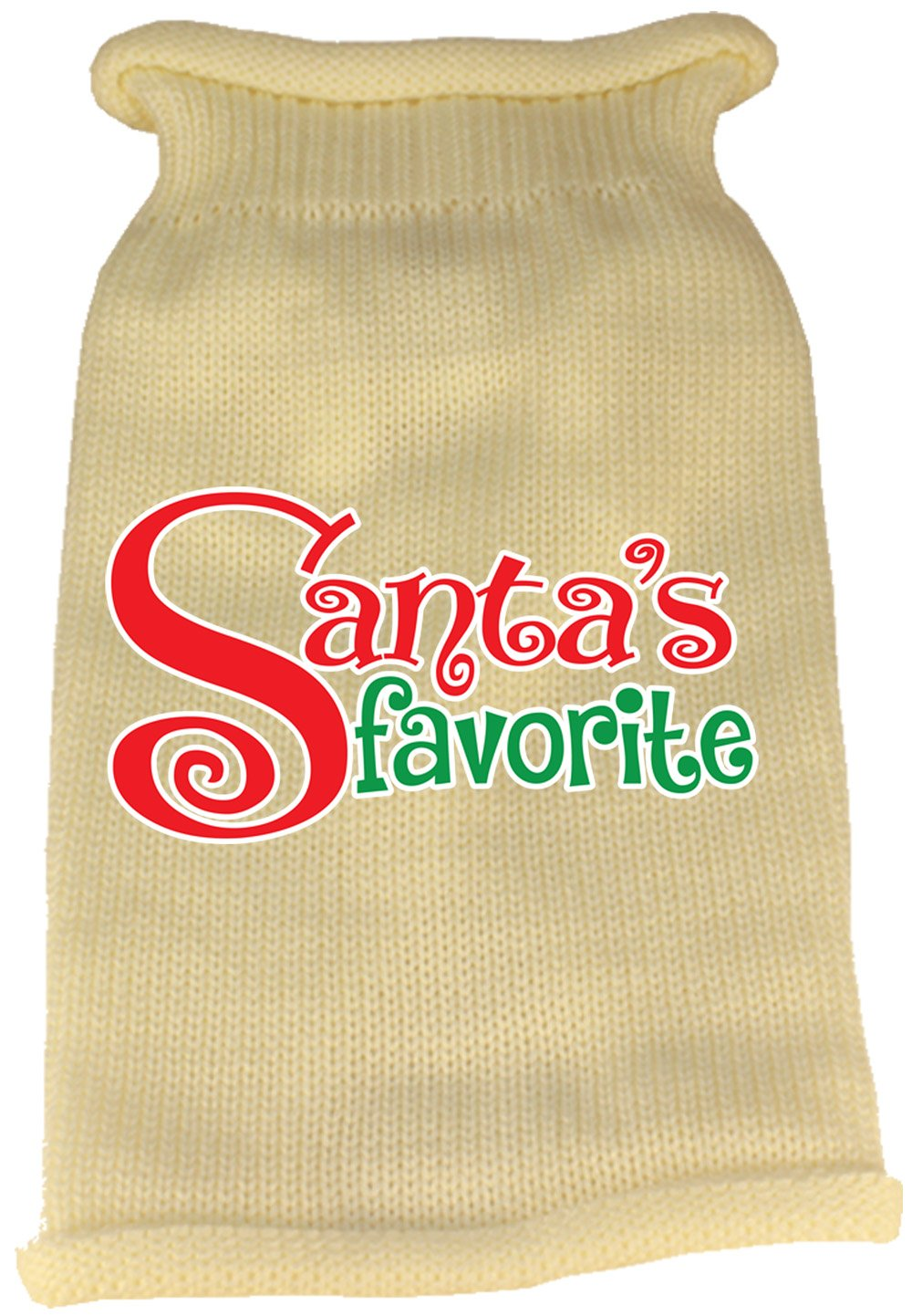 Mirage Pet Products Santa's Favorite Screen Print Knit Pet Sweater, X-Small, Cream