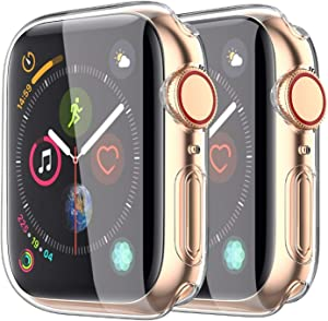 [2-Pack]CasRoie Clear Case for Apple Watch Series 5/6/SE 44mm with Built-in TPU Screen Protector All Around Protective Case High Definition Clear Ultra-Thin Cover for Apple iWatch 44mm Series 5,Clear