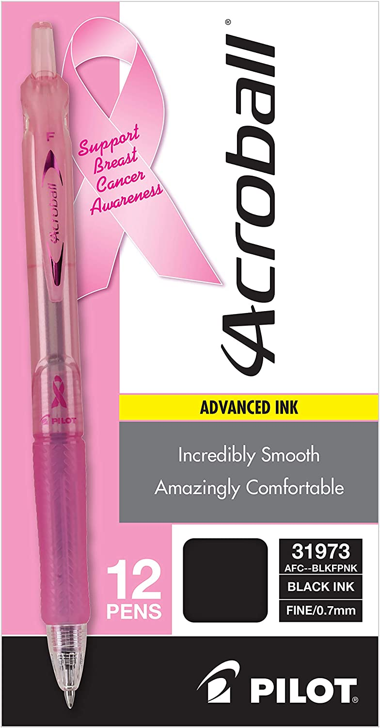 INC Ball Point Pens Breast Cancer Awareness Black Ink 3 Packs Of 8
