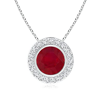 Angara Round Ruby Necklace in Platinum - July Birthstone Necklace H7XXBXA