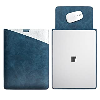"""WALNEW 13.5"""" Sleeve for 13.5 Inch Microsoft Surface Laptop 1/2/3(2017 & 2018 & 2019 Released) Protective Soft Sleeve Case Cover Bag with Safe Interior and Exterior Mouse Pad, Dark Blue"""