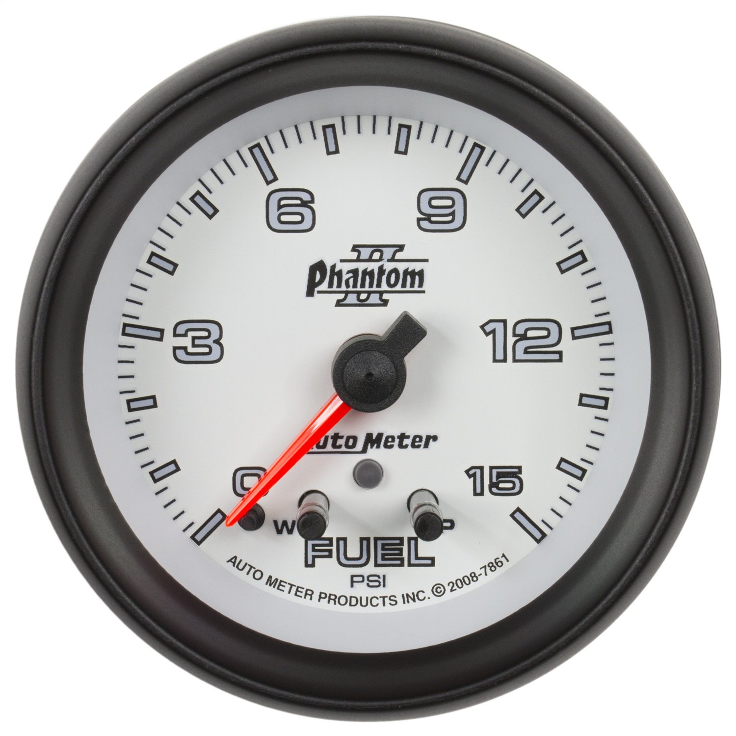 Auto Meter 7861 Phantom II 2-5//8 0-15 PSI Full Sweep Electric Fuel Pressure Gauge with Peak Memory and Warning