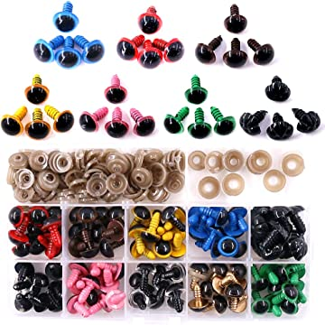 Mixed Color Yeahii 100pcs 14mm Plastic Safety Eyes For Teddy Bear Doll Animal Puppet Craft