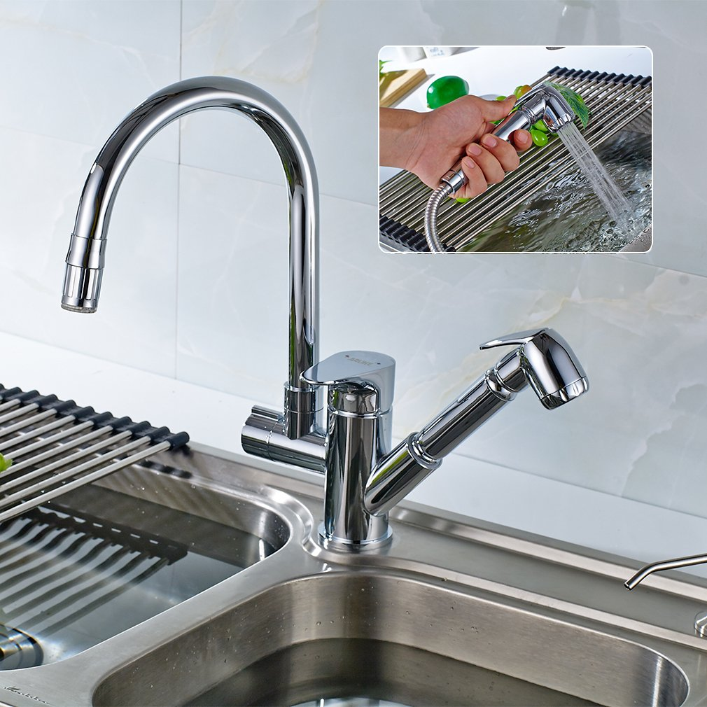 ROVATE LED Kitchen Faucets with Pull Down Sprayer Brass 360 Degree ...