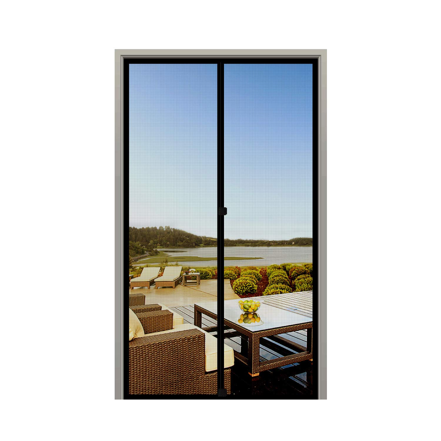 MAGZO Screen Door Magnets 32 x 80, Durable Fiberglass Door Mesh with Full Frame Hook&Loop for Patio Door Fits Door Size up to 32''x80'' Max-Black by MAGZO