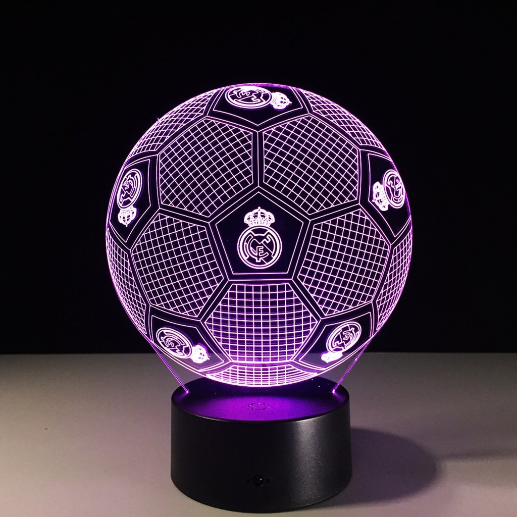 WBYD 3D Night Light Visualization Glow 7 Color Change USB Touch Button and Intelligent Remote Control Desk Table Lighting Nice Gift Home Office Decorations Toys (Real Madrid Football)