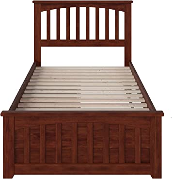 Atlantic Furniture Mission Twin Platform Bed with Matching Foot Board with  13 Urban Bed Drawers in AntiqueWalnut