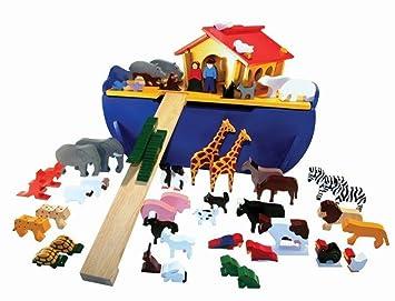Wooden Noahs Ark Large Set With 48 Animals Amazoncouk Toys Games