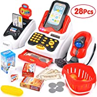 SR TOYS Cash Register for Kids with Checkout Scanner,Card Reader, Credit Card Machine, Play Money and Food Shopping Play Set