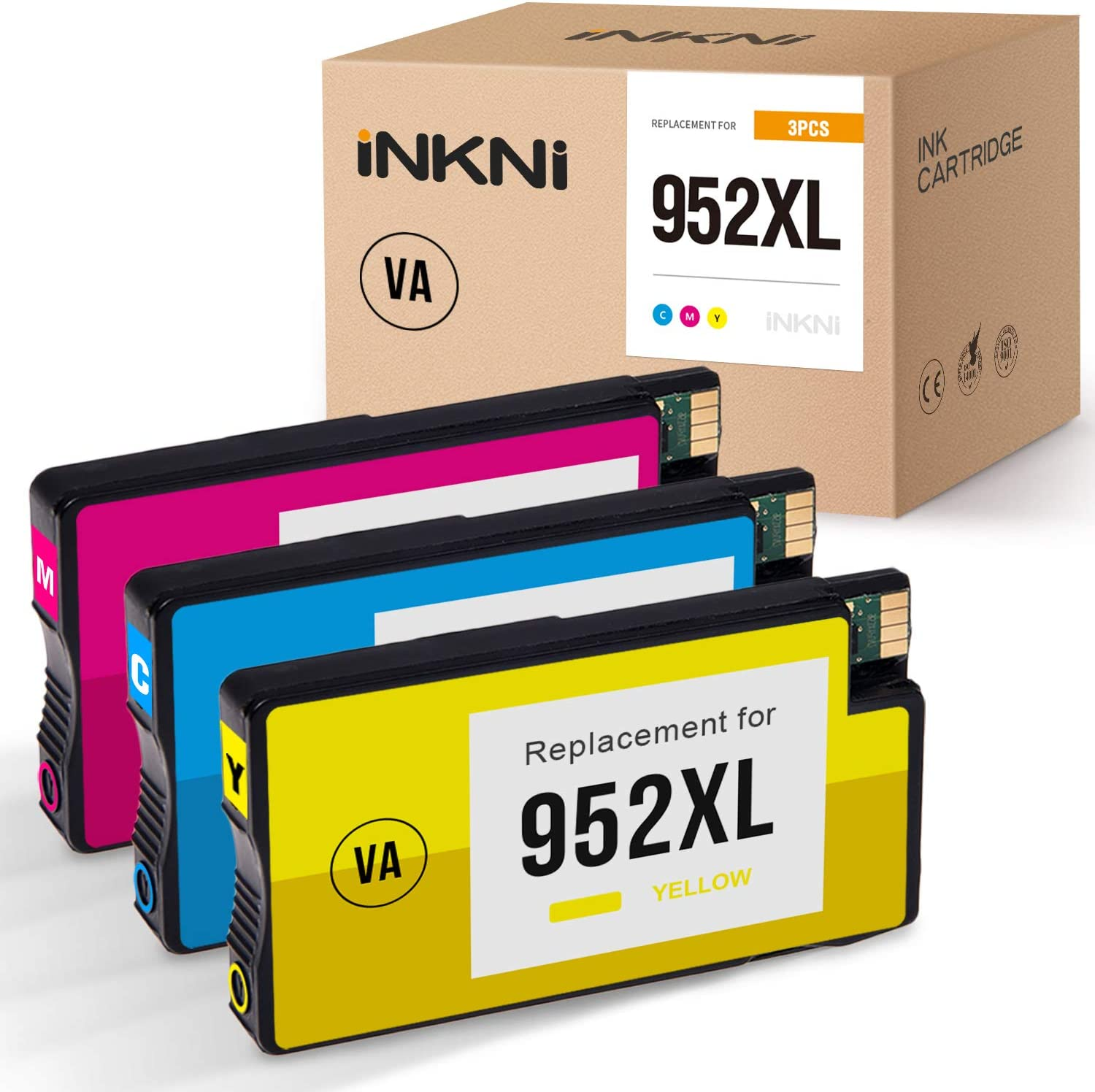 INKNI Remanufactured Ink Cartridge Replacement for HP 952XL 952 XL 952 High Yield use with OfficeJet Pro 8710 8720 8702 7740 8715 8740 8210 7720 8730 8725 8216 (1 Cyan, 1 Magenta, 1 Yellow, 3 Pack)
