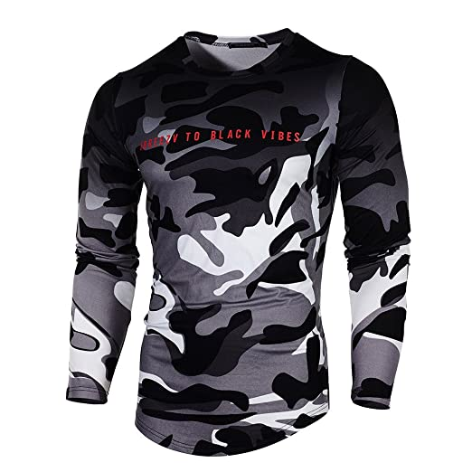 1e407fe7 GREFER Camouflage Men's Casual Slim Short Sleeve Tee Shirt Top Blouse T- Shirt (S